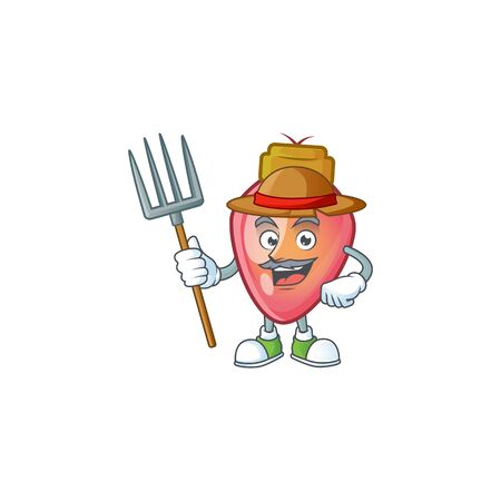 Farmer red christmas bulb cartoon character with hat and tools. Vector illustration
