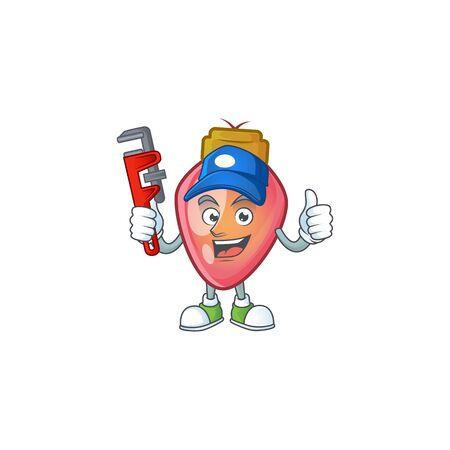 Plumber red christmas bulb on cartoon character mascot design. Vector illustration Illustration