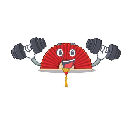 Fitness exercise chinese folding fan cartoon character holding barbells. Vector illustration