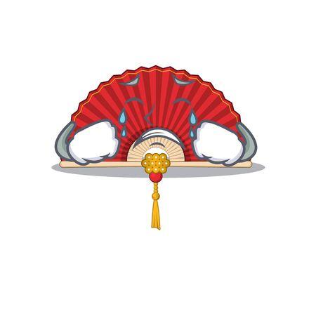 Sad Crying chinese folding fan mascot cartoon style. Vector illustration