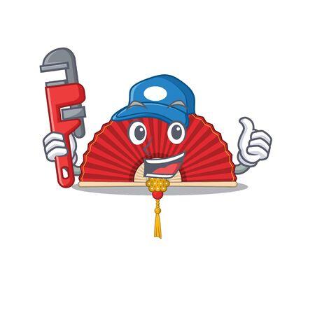 Plumber chinese folding fan on cartoon character mascot design. Vector illustration
