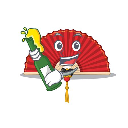 Cool chinese folding fan with beer mascot cartoon style. Vector illustration Vettoriali