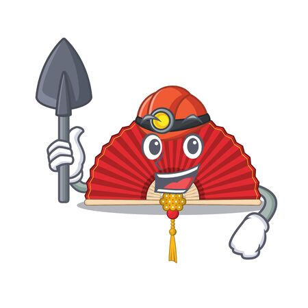 Cool Miner chinese folding fan of cartoon mascot style. Vector illustration Illustration