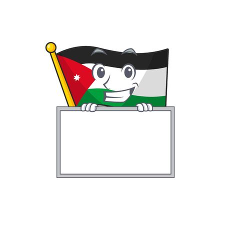 Grinning with board flag jordan cartoon character style  イラスト・ベクター素材