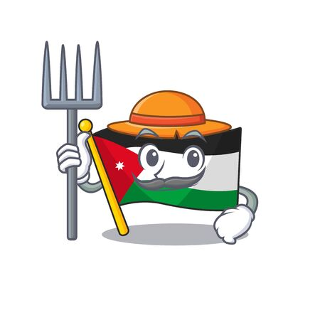 Farmer flag jordan cartoon character with hat and tools. Vector illustration Illustration