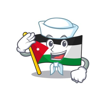 Mascot of Cute flag jordan Sailor cartoon character. Vector illustration