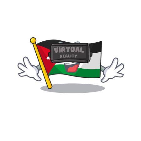 cool flag jordan character in Virtual reality headset. Vector illustration Illustration