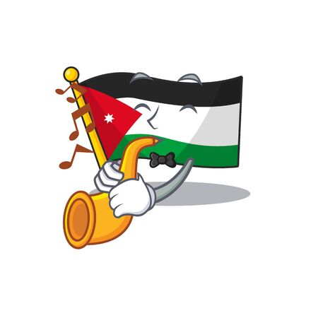 Super cool flag jordan cartoon character performance with trumpet. Vector illustration