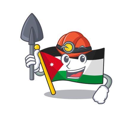 Cool Miner flag jordan of cartoon mascot style. Vector illustration