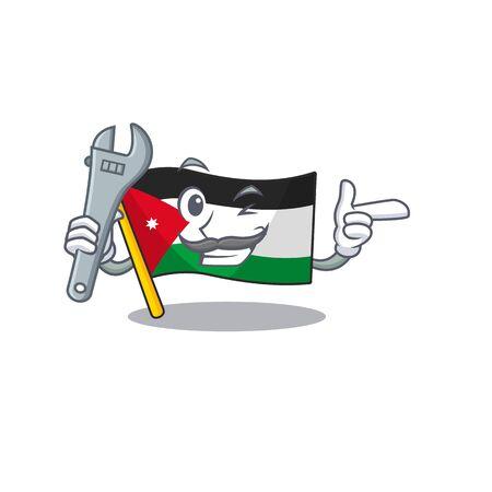 Professional Mechanic flag jordan mascot cartoon character style. Vector illustration