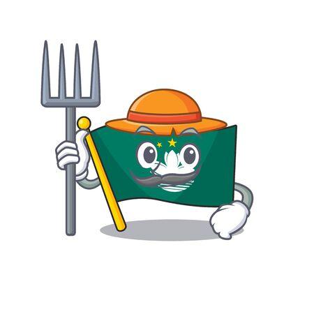 Farmer flag macau cartoon character with hat and tools. Vector illustration