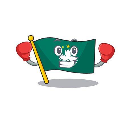 Funny Boxing flag macau cartoon character style. Vector illustration Archivio Fotografico - 134836287