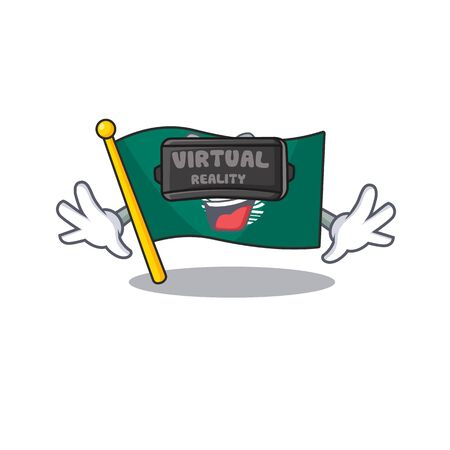cool flag macau character in Virtual reality headset. Vector illustration