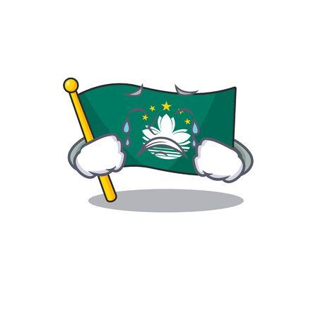 Sad Crying flag macau mascot cartoon style. Vector illustration