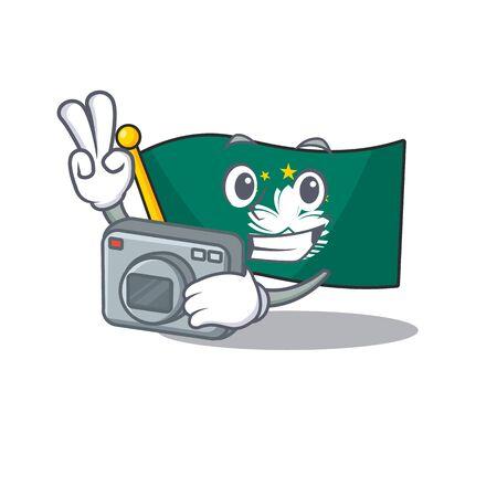 a professional Photographer flag macau cartoon character with a camera. Vector illustration
