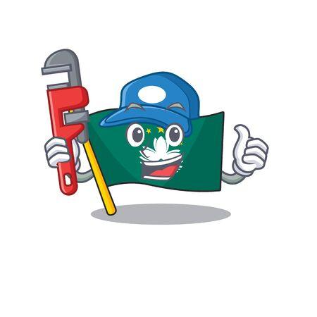 Plumber flag macau on cartoon character mascot design. Vector illustration