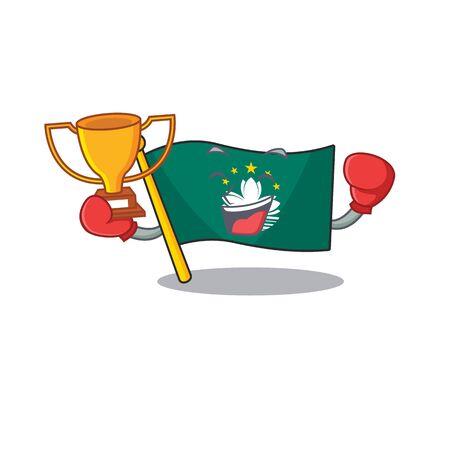 Super cool Boxing winner flag macau in mascot cartoon style. Vector illustration Archivio Fotografico - 134842945