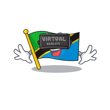 cool flag tanzania character in Virtual reality headset. Vector illustration Illustration