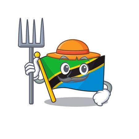 Farmer flag tanzania cartoon character with hat and tools. Vector illustration