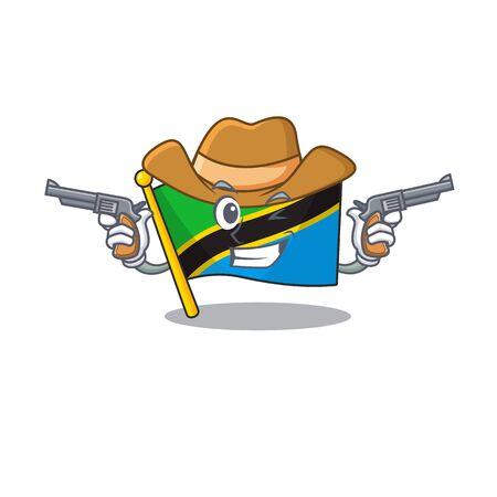 Flag tanzania cartoon character as a Cowboy holding guns. Vector illustration