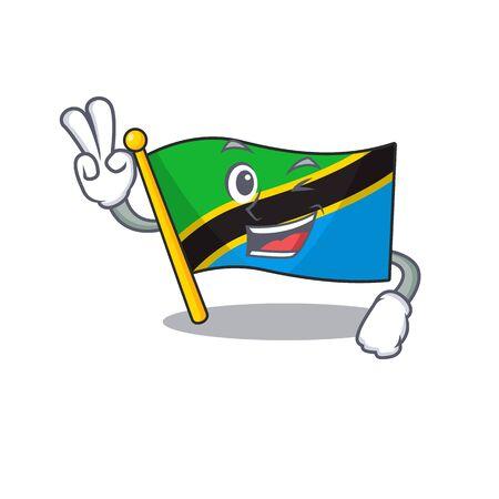 Flagge Tansania Charakter Cartoon-Stil mit zwei Fingern. Vektor-Illustration
