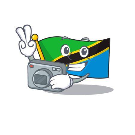 a professional Photographer flag tanzania cartoon character with a camera. Vector illustration Ilustração