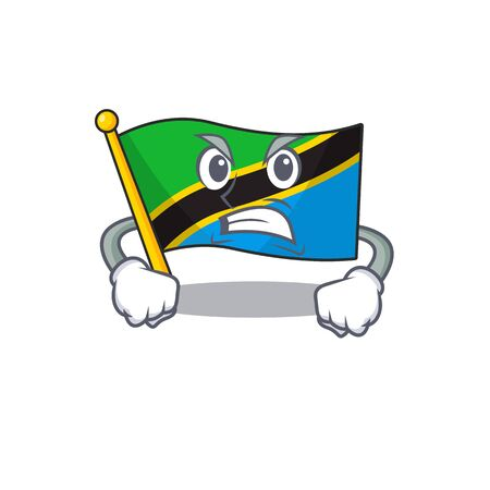 mascot of angry flag tanzania cartoon character style. Vector illustration Standard-Bild - 134843000