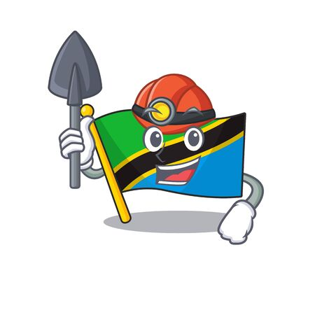 Cool Miner flag tanzania of cartoon mascot style. Vector illustration