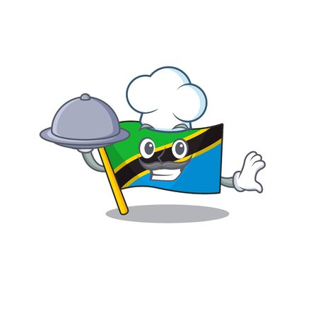 smiling flag tanzania as a Chef with food cartoon style design  イラスト・ベクター素材