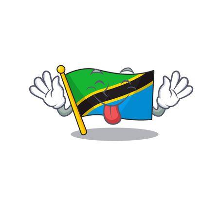 Super cute flag tanzania cartoon design with Tongue out Vetores
