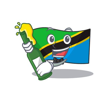Cool flag tanzania with beer mascot cartoon style. Vector illustration Illustration
