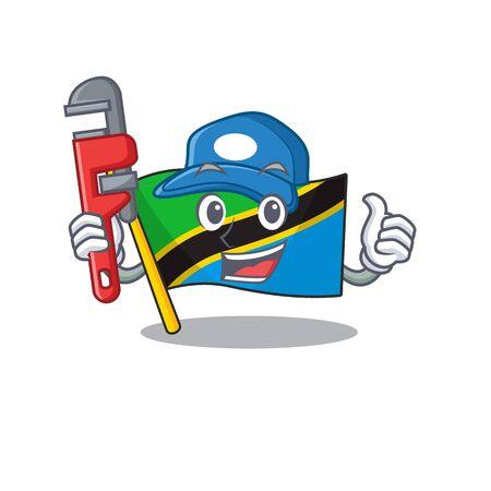 Plumber flag tanzania on cartoon character mascot design. Vector illustration