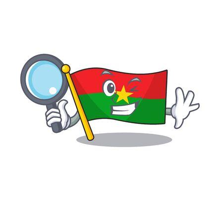 One eye flag burkina faso Detective cartoon character style. Vector illustration Illusztráció