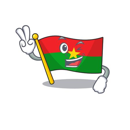 Flag burkina faso Character cartoon style with two fingers. Vector illustration Ilustrace