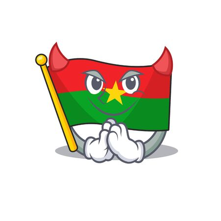 Cartoon character of flag burkina faso on a Devil gesture design. Vector illustration