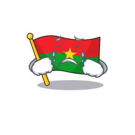 Sad Crying flag burkina faso mascot cartoon style. Vector illustration