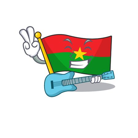 Supper cool flag burkina faso cartoon character performance with guitar. Vector illustration
