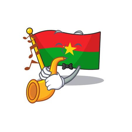 Supper cool flag burkina faso cartoon character performance with trumpet. Vector illustration