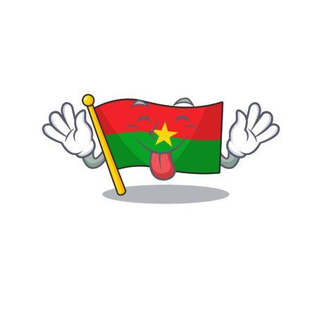 Super cute flag burkina faso cartoon design with Tongue out. Vector illustration