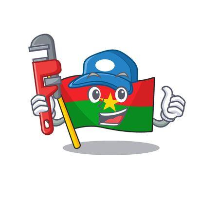 Plumber flag burkina faso on cartoon character mascot design. Vector illustration