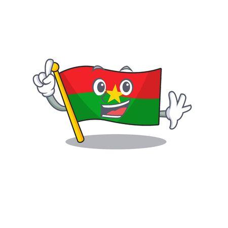 Finger flag burkina faso in mascot cartoon character style. Vector illustration Ilustrace