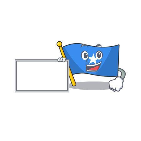 Flag somalia with board cartoon Character design style. Vector illustration