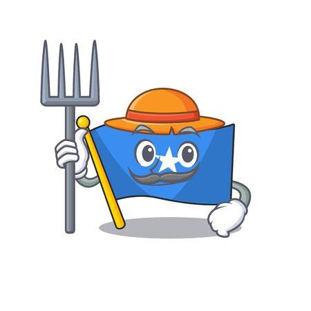 Farmer flag somalia cartoon character with hat and tools. Vector illustration
