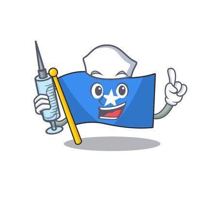 Cute Nurse flag somalia character cartoon style with syringe. Vector illustration