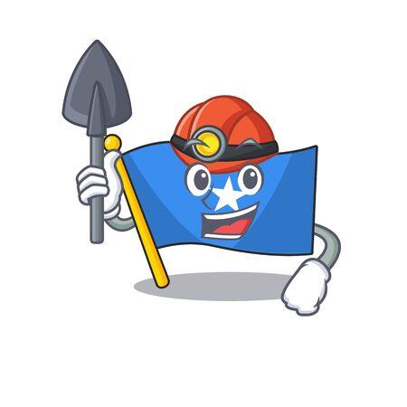 Cool Miner flag somalia of cartoon mascot style. Vector illustration