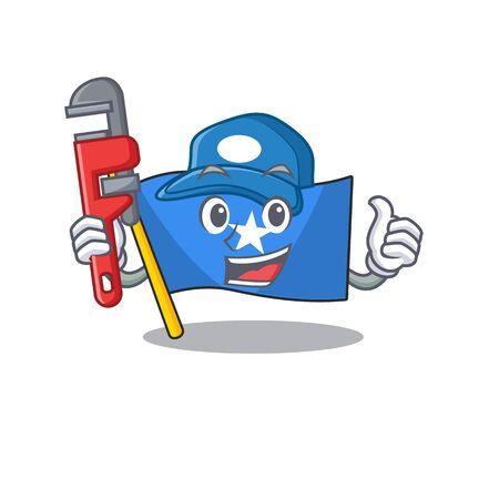 Plumber flag somalia on cartoon character mascot design. Vector illustration