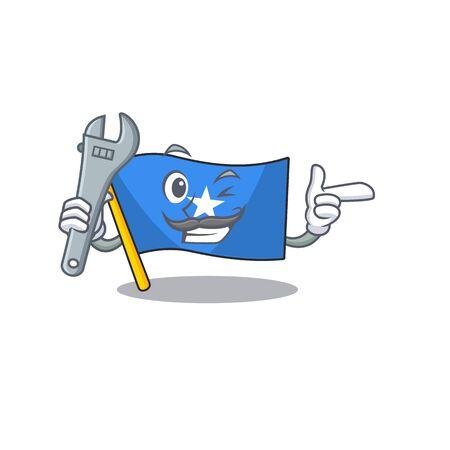 Professional Mechanic flag somalia mascot cartoon character style. Vector illustration Illustration