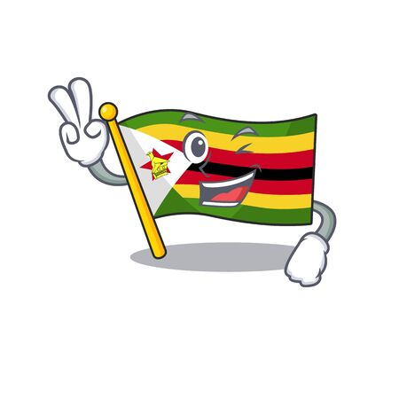 Flag zimbabwe Character cartoon style with two fingers. Vector illustration