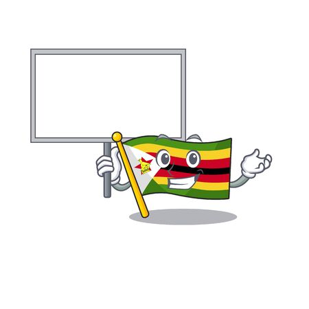 Smiling flag zimbabwe cute cartoon style Bring board. Vector illustration