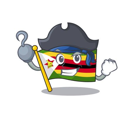 one hand Pirate flag zimbabwe mascot cartoon style. Vector illustration